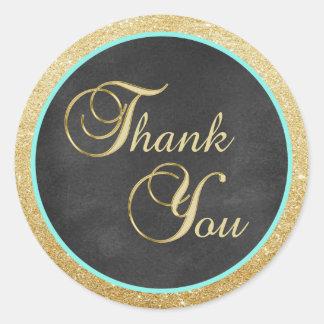 Tafel-danken tadelloser GoldGlitter Ihnen Umschlag Runder Aufkleber
