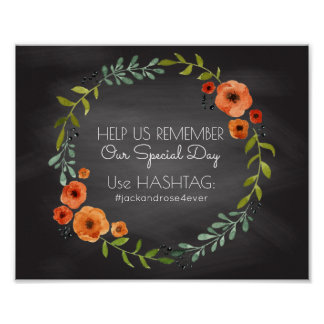 Tafel, die sozial-Medien Hashtag Zeichen-| Wedding Poster