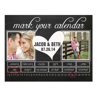 Tafel-Foto-Save the Date Kalender-Postkarte Postkarte