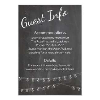 Tafel-Gast-Informationen mit Lichtern Karte