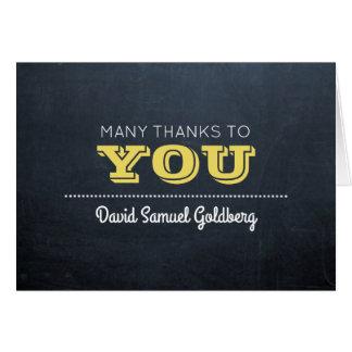 Tafel-goldenes Bar Mitzvah danken Ihnen zu merken Mitteilungskarte