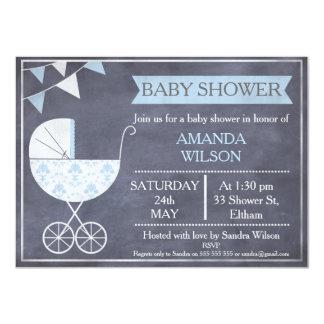 Tafel-Jungenpram-Babyparty-Einladung Karte