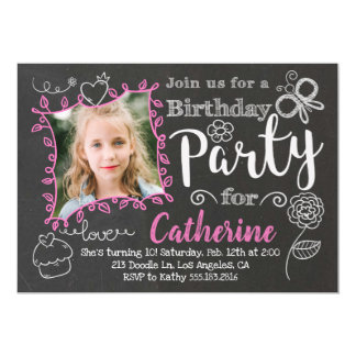 Tafel kritzelt Mädchen-Geburtstags-Party Einladung
