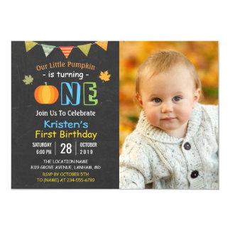Tafel-Kürbis-Baby-erstes Geburtstags-Foto 12,7 X 17,8 Cm Einladungskarte