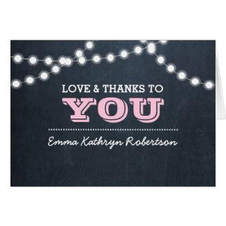 Tafel-Licht-rosa Bestätigung danken Ihnen zu Karte