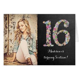 Tafel-Mädchen-laden Blumen16. Geburtstags-Party Grußkarte