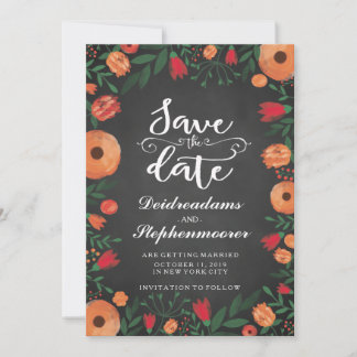 Chalkboard Floral Wedding Save the Date Card