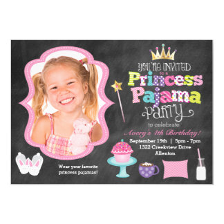 Tafel-Prinzessin Pajama Party Foto Invitation 12,7 X 17,8 Cm Einladungskarte