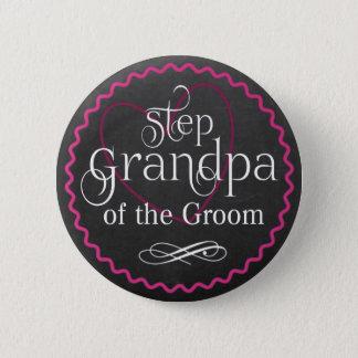 Tafel-rosa Herz, das | Schritt-Großvater-Bräutigam Runder Button 5,1 Cm