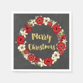 Tafel-rote BlumenKranz-Weihnachtsserviette Papierservietten