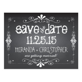 Tafel Save the Date, die Postkarte Wedding ist