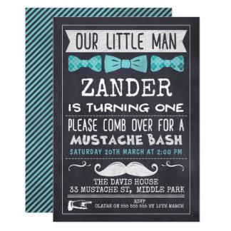 Tafel-Schnurrbart-1. Geburtstags-Einladung Karte