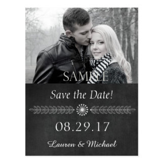 Tafel Schwarzweiss Save the Date Postkarte