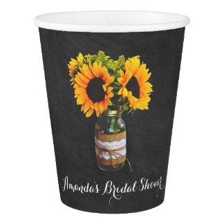 Tafel-Sonnenblume-Glas-Brautparty-Party-Schalen Pappbecher