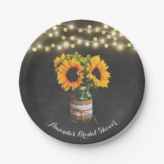 Tafel-Sonnenblume-Maurer-Glas-Brautparty Pappteller