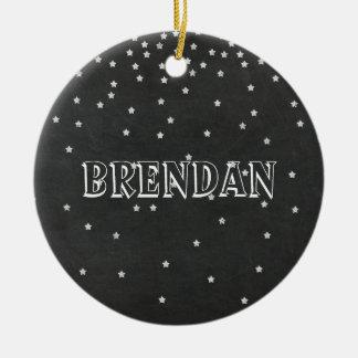 Tafel-Sterne mit Namen-u. Jahr-Verzierung Rundes Keramik Ornament