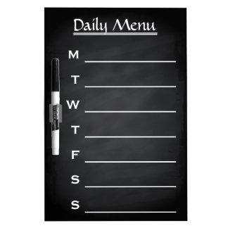Tafel-Tafel-tägliches Menü-wöchentliches Menü Whiteboards