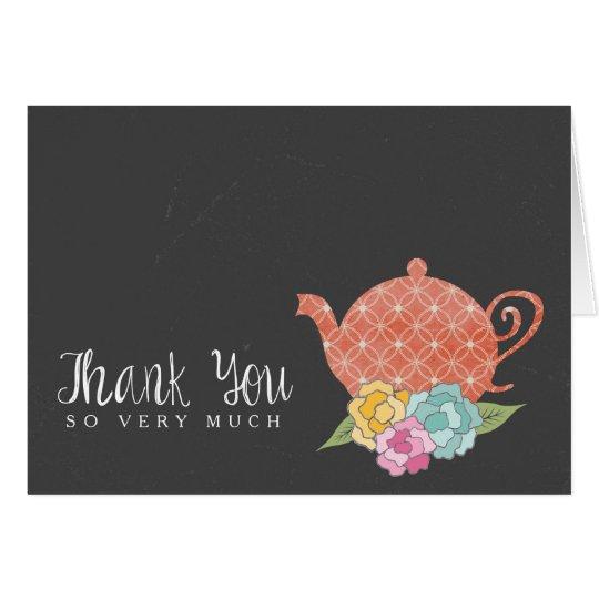 Tafel-Teekanne danken Ihnen Anmerkungs-Karte Mitteilungskarte