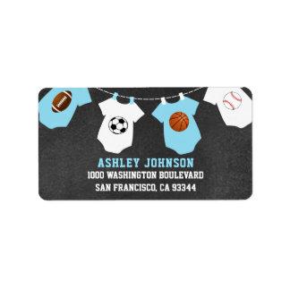 Tafel trägt Thema-blauer Jungen-Babyparty zur Adressaufkleber