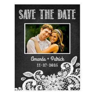 Tafel und Spitze, die Save the Date Karten Wedding