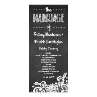 Tafel-und Spitze-rustikale Hochzeits-Programme Individuelle Werbe Karte
