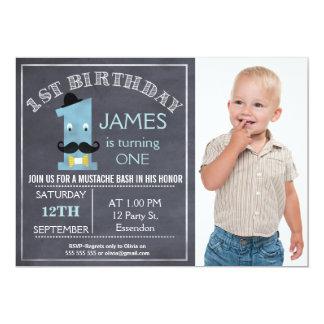 Tafelschnurrbart 1. Geburtstags-Party Einladung