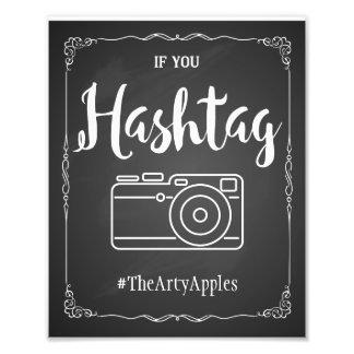 Tafelsozialmedien, die Zeichen hashtag wedding Photo Drucke