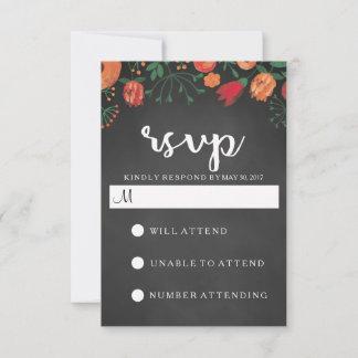 Chalkboard Watercolor Floral Wedding RSVP Card