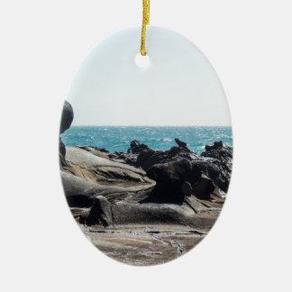 Tafoni Kugel mit Pelikanen Ovales Keramik Ornament