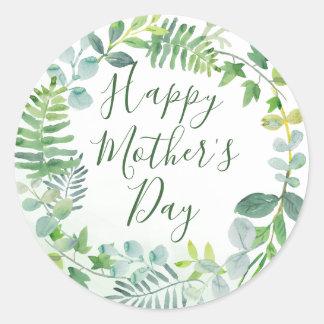 Tag der Aquarell-Grün-der glückliche Mutter Runder Aufkleber