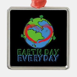Tag der Erde: Behalten Sie Mutter-Natur-Grün u. Quadratisches Silberfarbenes Ornament