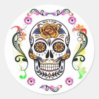 Tag der Toten - Blumenschädel-Aufkleber Runder Aufkleber