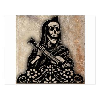 Tag der toten Gitarre, die Skelett spielt Postkarte