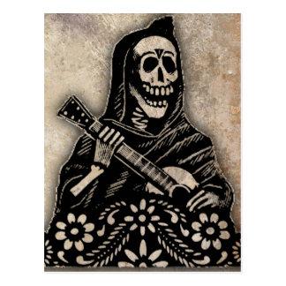 Tag der toten Gitarre, die Skelett spielt Postkarten