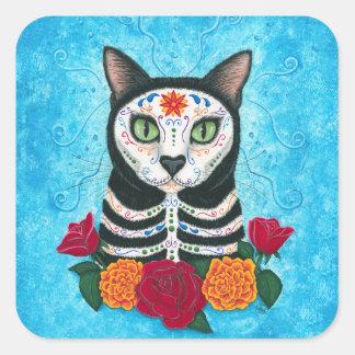 Tag der toten Katzen-Zuckerschädel-Katzen-Kunst Quadratischer Aufkleber