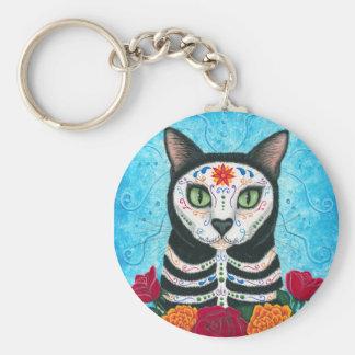 Tag der toten Katzen-Zuckerschädel-Kunst Keychain Schlüsselanhänger