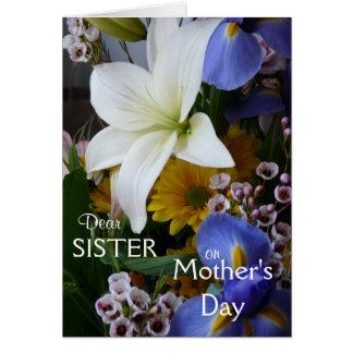Tag-Schwester-Hübsches Blumen der glücklichen Grußkarte