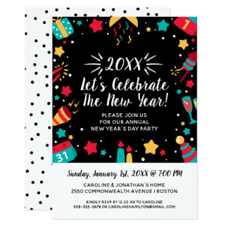 TagesParty des Sylvesterabends feiern 2018 Karte