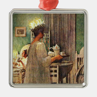 Tagesweihnachten Carl Larssons St Lucia in Quadratisches Silberfarbenes Ornament