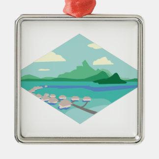 Tahiti Quadratisches Silberfarbenes Ornament