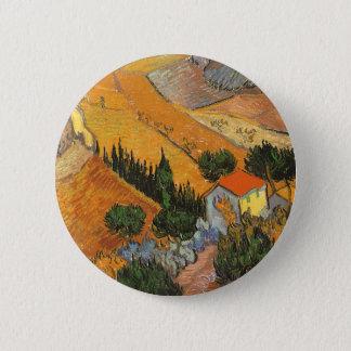 Tal mit Ploughman durch Vincent van Gogh Runder Button 5,7 Cm