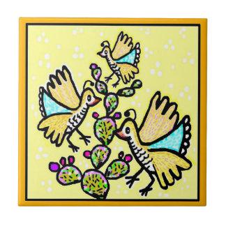 Talavera-Art-Fliese - Wachtel auf Gelb Fliese