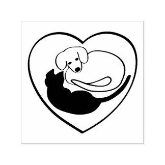 Tampon Auto-encreur Chien et chat/chiot et coeur de Kitty