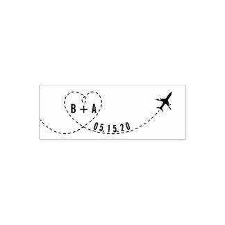 Tampon Auto-encreur Date de mariage d'initiales d'avion de vol