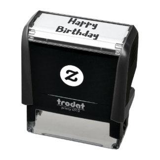 Tampon Auto-encreur Icône de coeur des textes de joyeux anniversaire