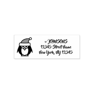 Tampon Auto-encreur Individu de pingouin de Noël encrant le timbre