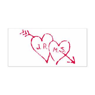 Tampon Auto-encreur Initiales romantiques gravées à l'eau-forte aux