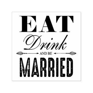 Tampon Auto-encreur Mangez la boisson et soyez mariage marié