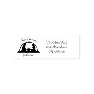 Tampon Auto-encreur Scène de nativité noire/blanc - timbre de Noël