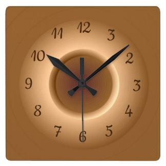 TAN Brown mit einer Goldkreis-Ring-Minimalist-Uhr Quadratische Wanduhr